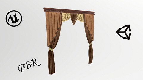 №801 Curtain  3D low poly models for game development and VR-projects