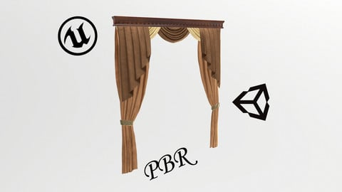 №601 Curtain  3D low poly models for game development and VR-projects