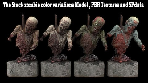 The Stuck zombie color variations Model , PBR Textures and SPdata