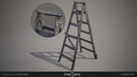 Wooden Stair - Photogrammetry Asset 3D PhotoScan