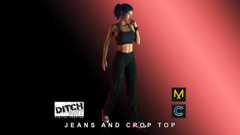 Jeans and Crop Top - Marvelous Designer & Clo