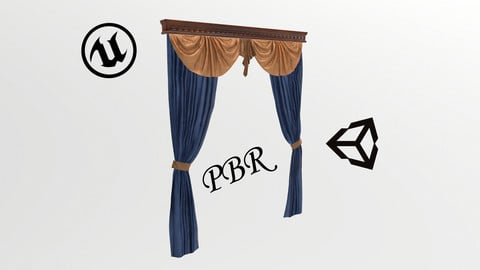 №607 Curtain  3D low poly models for game development and VR-projects