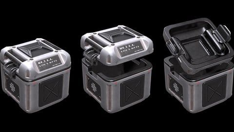 Sci Fi Crate with Cover PBR Game-ready Low-poly 3D model