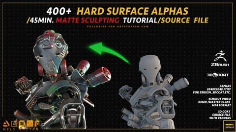 400+  HARD SURFACE ALPHAS  /45MIN. MATTE SCULPTING  TUTORIAL/SOURCE  FILE