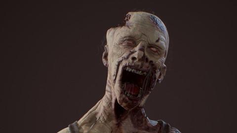 Zombie ztl + lowpoly + substance painter project + marmoset scene+ animation