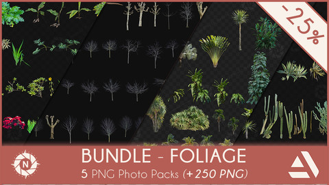 Bundle Foliage: 5 PNG Photo Packs
