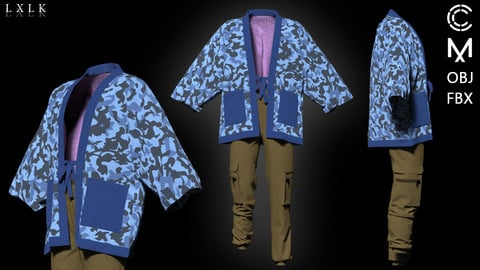Men's Japanese style camouflage outfit - Marvelous Designer, CLO3D