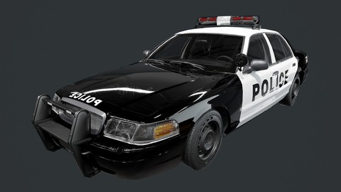 Vehicle Police Car Low Poly Game Ready (UE4 File included)