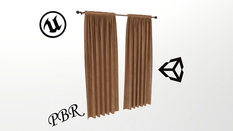 №605 Curtain  3D low poly models for game development and VR-projects