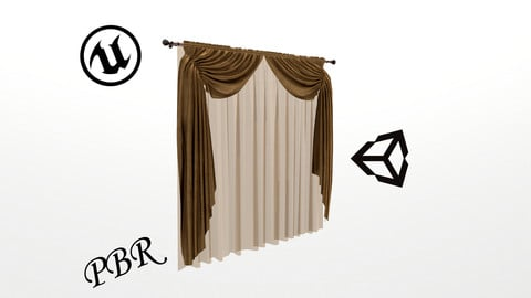 №805 Curtain  3D low poly models for game development and VR-projects