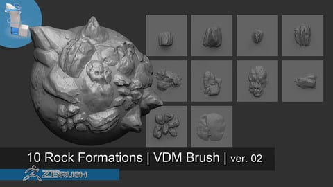 10 Rock Formations VDM Brush (ver. 02) - Zbrush
