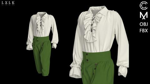 Men's Green Ruffle Renaissance Outfit