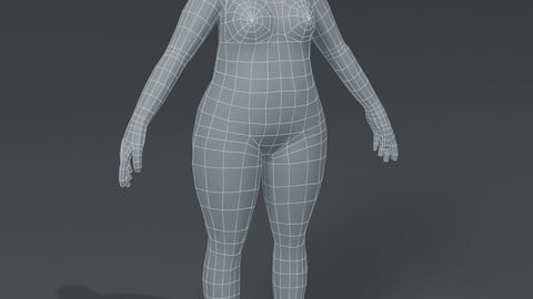 Female Body Fat Base Mesh 3D Model