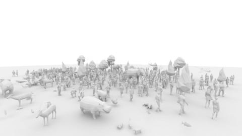 LowPoly Posed Human and Animal Pack Low-poly 3D model