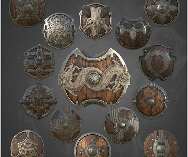 ArtStation - 15 low poly ancient sheild + 4k PBR texture and material - vol 01 | Game Assets