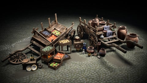 Fruit and Pottery Market Cart Pack