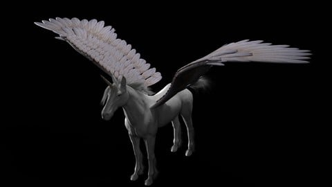 Pegasus Horse Hair Fur Rigged Animal