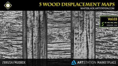 ZBrush/Mudbox/SP - 5 Wood Pattern Displacement Maps / Alphas Vol.03