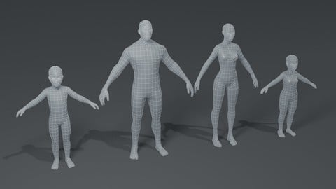 Human Body Base Mesh 3D Model Family Pack