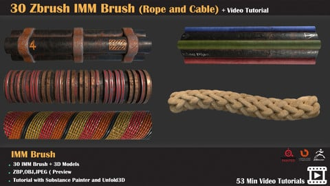 30 Zbrush IMM Brush (Rope and Cable) +Texturing Tutorial