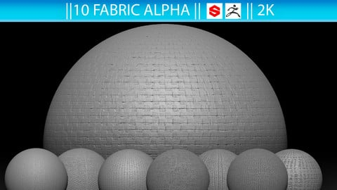 10 Fabric Alpha (ZBrush, Substance, 2K)