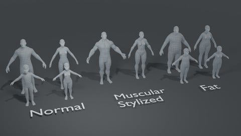 Human Body Base Mesh 10 3D Models Pack