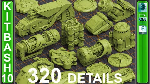 Mega Pack Sci-Fi Hard Surface KITBASH 320 DETAILS