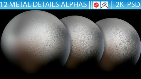 12 Metal Details Alphas (Zbrush, Substance, 2K, PSD)