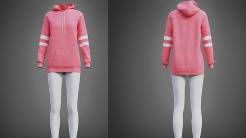 Cute outfit - pink oversized hoodie and leggings 3D Model