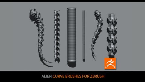 Alien curve brushes for ZBrush