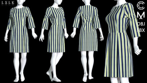 Women's stripe dress - Free / Marvelous Designer, CLO3D, Daz3D