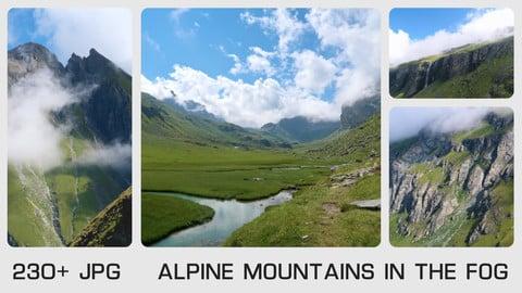 ALPINE MOUNTAINS IN THE FOG - Photo reference pack - 230+ JPG & 1 bonus PSD