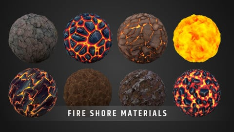 Stylized Fantasy Fire Shore Material Pack