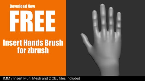 FREE - Insert Hands Brush For Zbrush - IMM - INSERT MULTI MESH