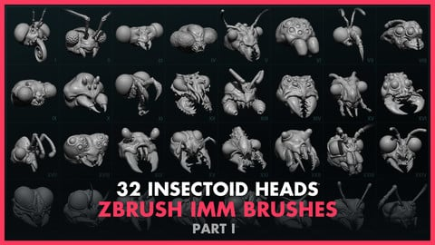 Alien Insectoid Heads – 32 IMM Brushes Part I