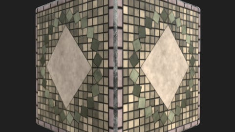 Ornamental tile floor.