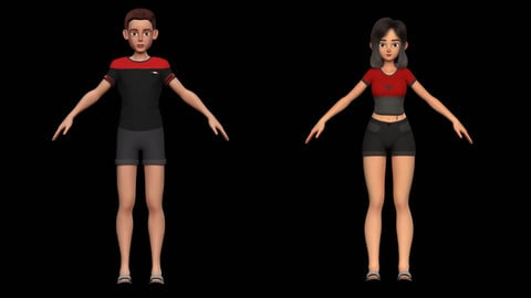 2 Stylized Character Amy Boy and Girl Pack 1 for Blender Cycles and Eevee