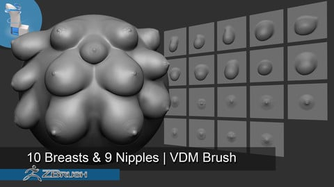 19 Breasts And Nipples | VDM Brush - Zbrush