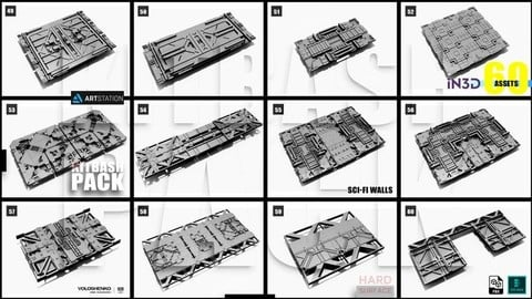 Sci-Fi walls KitBash Pack 60+