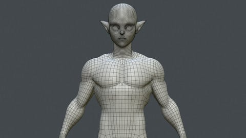 Elf basemesh with UVs