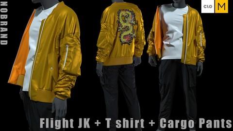 Mens - Flight JK + Tshirt + Cargo Pants