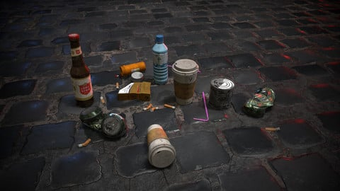 Urban Garbage Small Pack and Trash set Low-poly