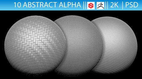 10 Abstract Alphas (ZBrush, Substance, 2K, PSD)