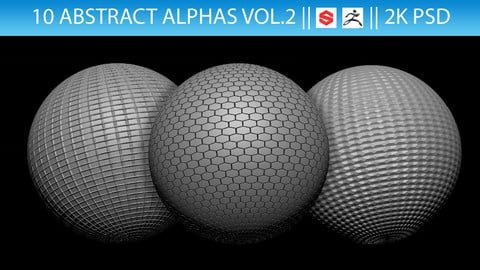 10 Abstract Alphas Vol.2 (ZBrush, Substance, 2K, PSD)