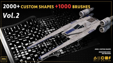 2000+ Custom shapes 1000+ Kitbash brushes for concept art (DEMO VIDE) mega pack vol.2