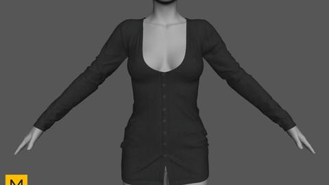 Cardigan dress - Marvelous designer (OBJ + ZPRJ)
