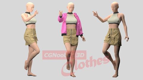 Women Mini Skirt, Sport Bra and Sweater - 35 Marvelous Designer and Clo3D