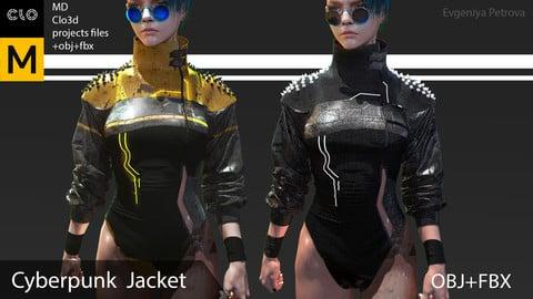 Cyberpunk female jacket. Clo3d, Marvelous designer project + OBJ+ FBX