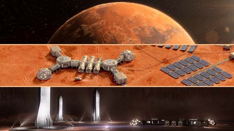 Martian base colony in the crater. Planet Mars, high detailed animated 3d scene.