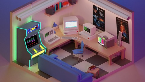 90's Retro Lowpoly Gaming Room